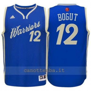 canotta andrew bogut #12 golden state warriors natale 2015 blu