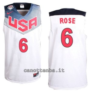 canotta derrick rose #6 nba usa 2014 bianca
