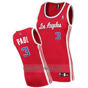 canotta donna chris paul #3 los angeles clippers rosso