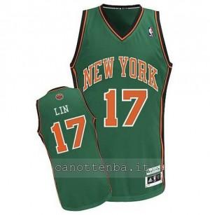canotta jeremy lin #17 new york knicks verde