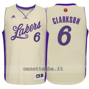 canotta jordan clarkson #6 los angeles lakers natale 2015 giallo