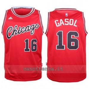 canotta pau gasol #16 chicago bulls 2015-2016 rosso