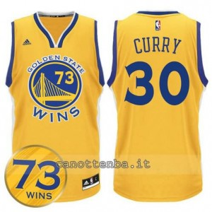 canotta stephen curry #30 golden state warriors 73 wins 2016 giallo