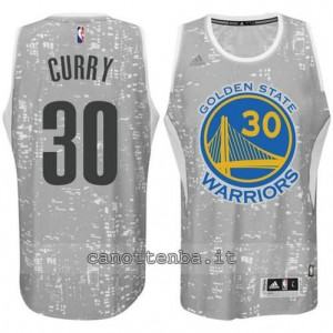 canotta stephen curry #30 golden state warriors lights grigio
