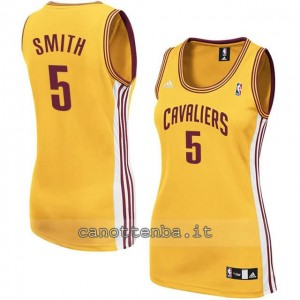 canotta nba donna jr smith #5 cleveland cavaliers giallo
