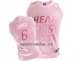 canotta nba donna miami heat LeBron James #6 rosa