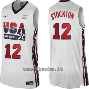canotta nba john stockton #12 nba usa 1992 bianca