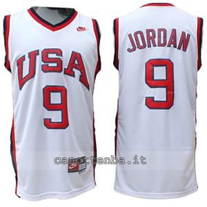 canotta nba michael jordan #9 nba usa 1984 bianca