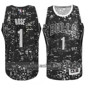 Canotta derrick rose #1 chicago bulls lights nero