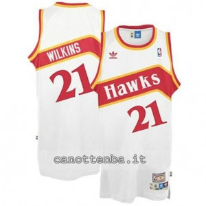 Canotta dominique wilkins #21 atlanta hawks retro bianca