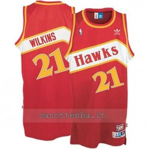 Canotta dominique wilkins #21 atlanta hawks retro rosso