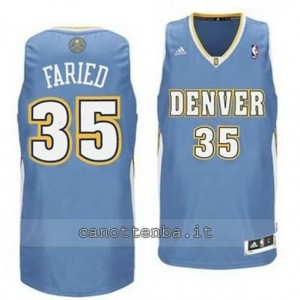Canotta kenneth faried #35 denver nuggets revolution 30 blu