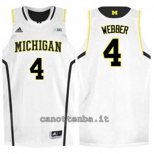 Canotta ncaa michigan wolverines chris webber #4 bianca