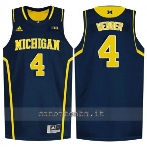 Canotta ncaa michigan wolverines chris webber #4 blu