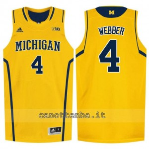 Canotta ncaa michigan wolverines chris webber #4 giallo