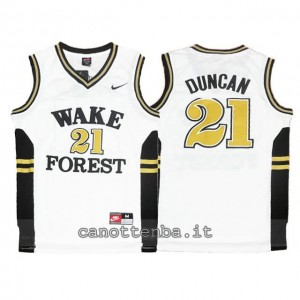 Canotta ncaa wake forest demon deacons tim duncan #21 bianca