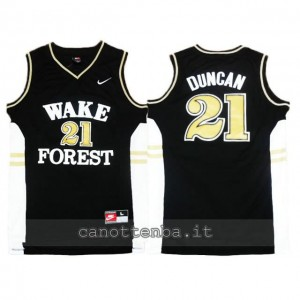 Canotta ncaa wake forest demon deacons tim duncan #21 nero