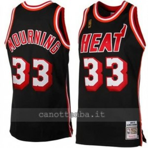 canotta alonzo mourning #33 miami heat retro nero