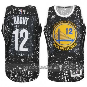 canotta andrew bogut #12 golden state warriors lights nero