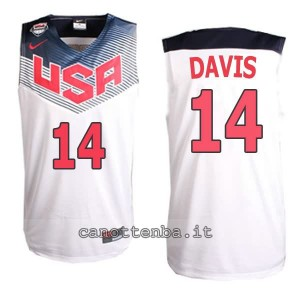 canotta anthony davis #14 nba usa 2014 bianca