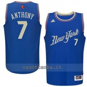 canotta carmelo anthony #7 new york knicks natale 2015 blu