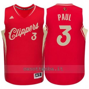 canotta chris paul #3 los angeles clippers natale 2015 rosso