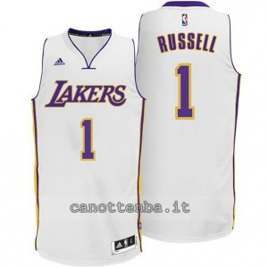 canotta d'angelo russell #1 los angeles lakers 2014-2015 bianca
