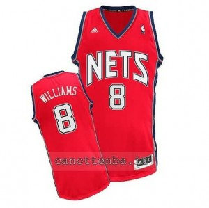 canotta deron williams #8 brooklyn nets retro rosso