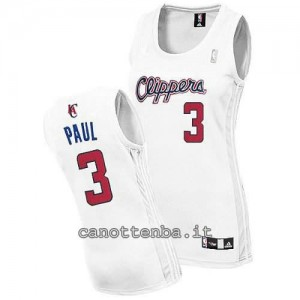 canotta donna chris paul #3 los angeles clippers bianca
