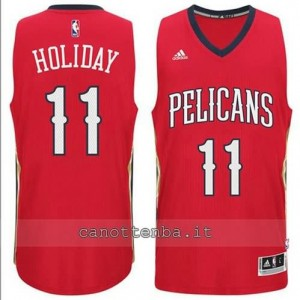 canotta jrue holiday #11 new orleans pelicans 2014-2015 rosso