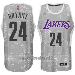 canotta kobe bryant #24 los angeles lakers lights grigio