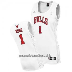 canotta basket donna chicago bulls derrick rose #1 bianca