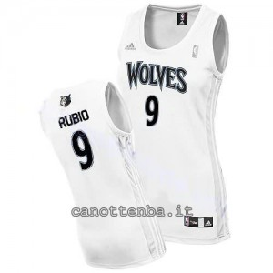 canotta basket donna minnesota timberwolves ricky rubio #9 bianca