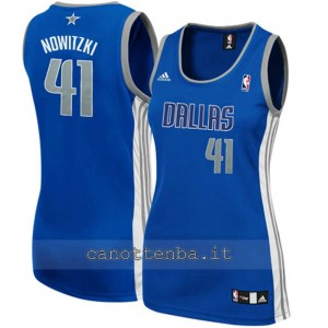 canotta nba donna dirk nowitzki #41 dallas mavericks blu