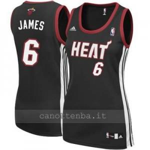 canotta nba donna miami heat LeBron James #6 nero