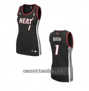 canotta nba donna miami heat chris bosh #1 nero