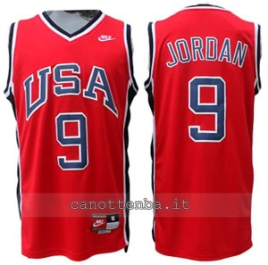 canotta nba michael jordan #9 nba usa 1984 rosso