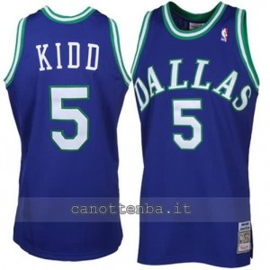 Canotta jason kidd #5 dallas mavericks throwback blu