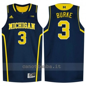 Canotta ncaa michigan wolverines trey burke #3 blu