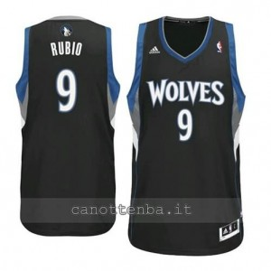 Canotta ricky rubio #9 minnesota timberwolves revolution 30 nero