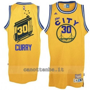 Canotta stephen curry #30 golden state warriors throwback giallo