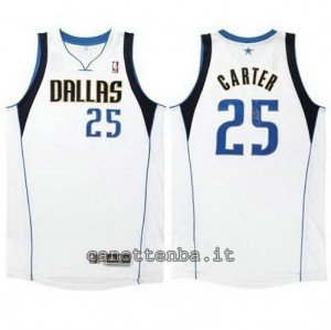 Canotta vince carter #25 dallas mavericks revolution 30 bianca
